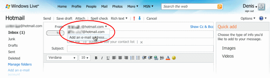 Hotmail: Add email address