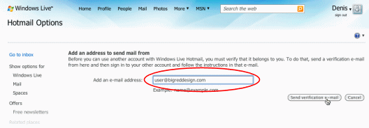Hotmail: Enter address
