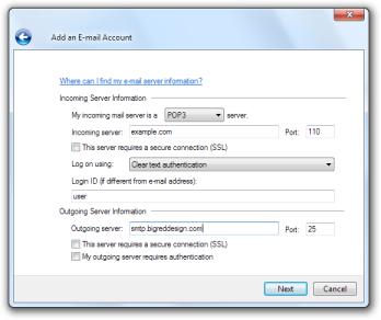 Windows Live Mail: Add an E-mail Account - Server details