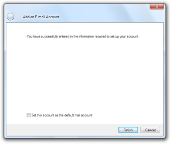 Windows Live Mail: Add an E-mail Account - Finished