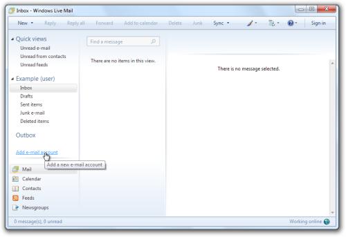 Windows Live Mail: Inbox