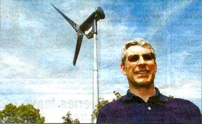 David Nisbet with his turbine