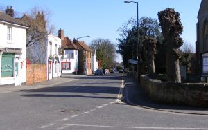 Southminster High Street showing position of Middlewick turbines